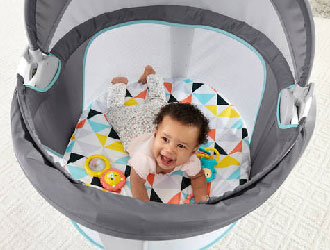 On-The-Go Baby Dome with Geometric Colorful Design Mat from Fisher-Price