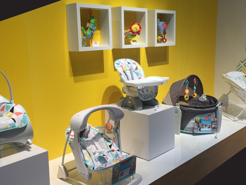 Fisher-Price's 2017 collection features brilliant whites contrasted with bright patterned linings