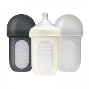 Nursh Silicone Pouch Bottle 3-Pack, Storage Lids, and Nipples