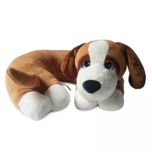 Brown Dog Pillow with White Paws