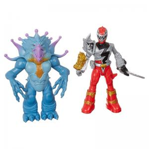 Power Rangers Dino Fury Red Ranger, Morpher, Red Ranger vs. Doomsnake, and Blue Ranger vs. Shockhorn