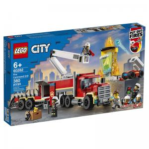 LEGO City Fire Command Unit, Fire Rescue Helicopter, and Fire Ladder Truck