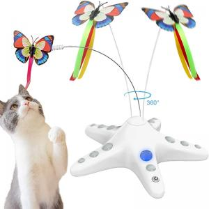 Electronic Butterfly Cat Toy and Self Cleaning Slicker Brush