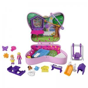 Polly Pocket Candy Cutie Gumball, Dolphin Beach, Backyard Butterfly, and Elephant Adventure Compacts